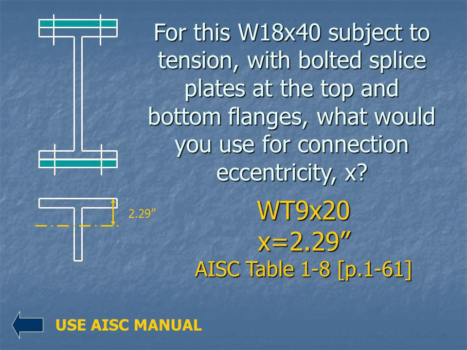 WT9x20 x=2.29 AISC Table 1-8 [p.1-61]